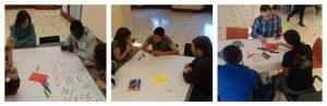 La trobada joves divers@s es va dinamitzar amb el world café, les imatges mostren moments del debat a les taules.