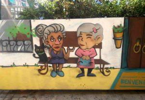 Aquest és un dels murals que es va realitzar durant la dinamització