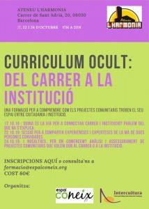 Aquí pots veure el  cartell de la formació Curriculum ocult que Espai Coneix torna a realitzar